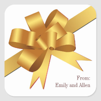 Gold satin gift bow ribbon Christmas holiday Square Stickers