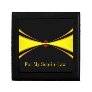 Gold Satin Masculine Design Small Square Gift Box