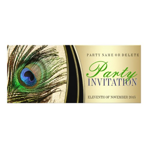 Gold Satin Stylish Peacock Feather Invitations
