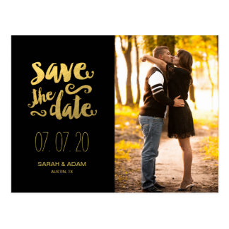 Gold Save Our Date | Save the Date Postcard