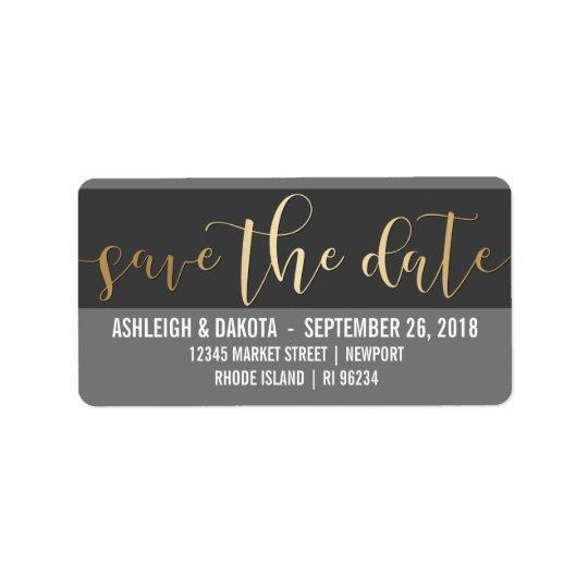 Gold Save The Date Script   Black & White Photo Address Label