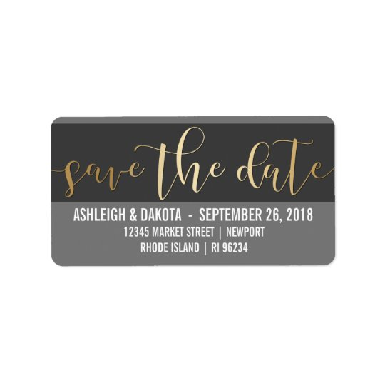 Gold Save The Date Script | Black & White Photo Label