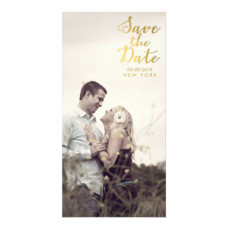 Gold Save the Date Script Overlay Photo Cards