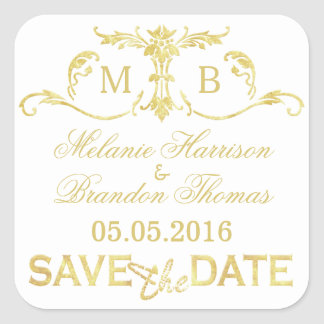 Gold Save the Date Stickers gold monogram wedding