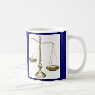 gold scales of justice coffee mug