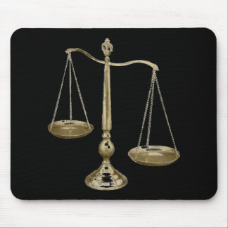 gold scales of justice mouse pad