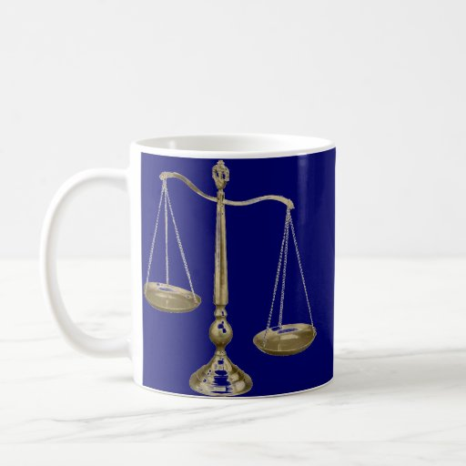 gold scales of justice mugs