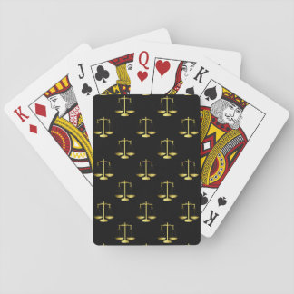 Gold Scales Of Justice on Black Repeat Pattern Playing Cards