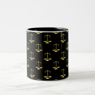 Gold Scales Of Justice on Black Repeat Pattern Two-Tone Coffee Mug