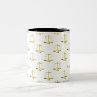 Gold Scales Of Justice on White Repeat Pattern Two-Tone Coffee Mug