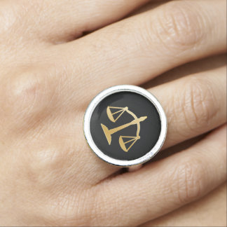 Gold Scales of Justice Ring