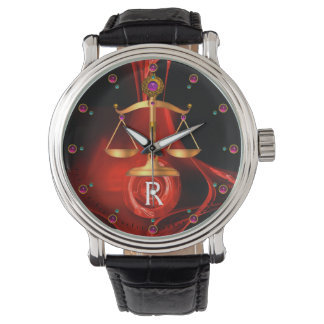 GOLD SCALES OF LAW, ATTORNEY,Justice Red Black Watch