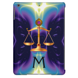 GOLD SCALES OF LAW WITH GEM STONES MONOGRAM iPad AIR COVERS