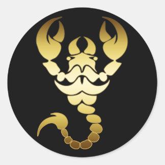 GOLD SCORPION CLASSIC ROUND STICKER