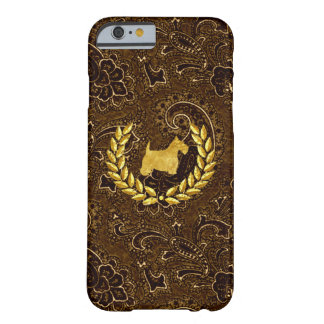Gold Scottie and Classic Brown Paisley Barely There iPhone 6 Case