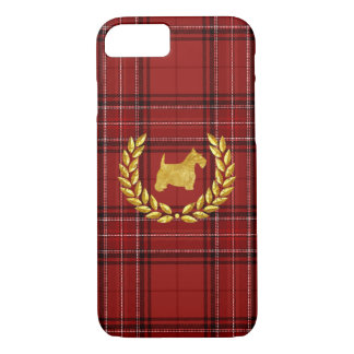 Gold Scottie and Dark Red Plaid iPhone 7 Case