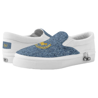 Gold Scottie and Wreath on Light Blue Denim Printed Shoes