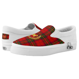Gold Scottie and Wreath on Stewart Plaid Slip-On Shoes