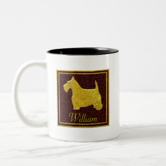 Gold Scottie on Leather Two-Tone Coffee Mug