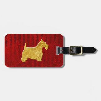 Gold Scottie On Stripe Red Luggage Tag