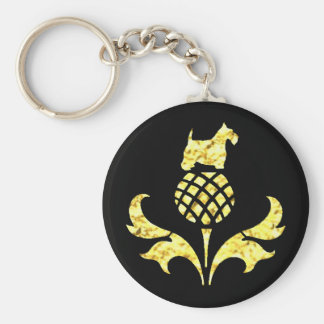 Gold Scottie Thistle Personalize Key Ring