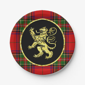 Gold Scottish Lion and Plaid Paper Plate