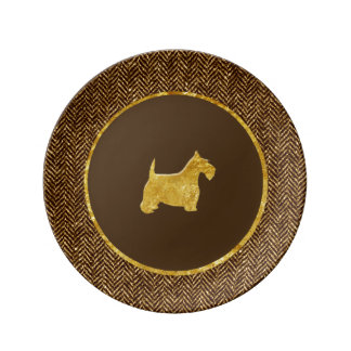 Gold Scottish Terrier Herringbone Personalize Porcelain Plate