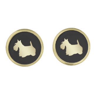 Gold Scottish Terrier on Black Gold Finish Cufflinks