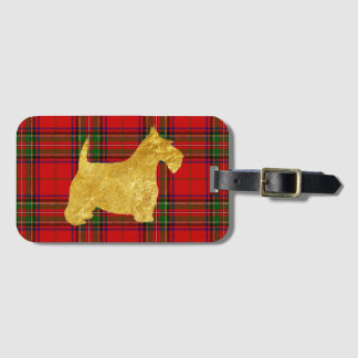 Gold Scottish Terrier on Plaid Luggage Tag