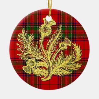Gold Scottish Thistle on Plaid Ceramic Ornament