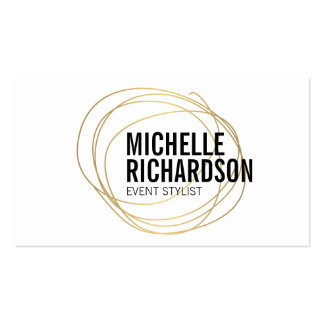 Gold Scribble with Bold Text Abstract Design Pack Of Standard Business Cards