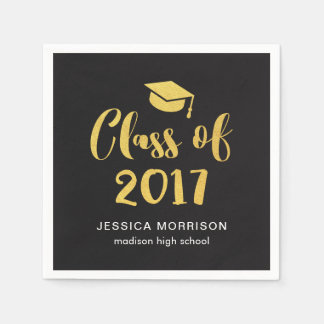 Gold Script Class of 2017 Graduation Party Paper Napkin