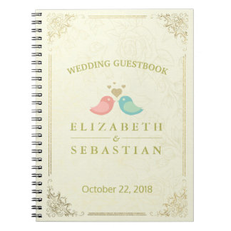 Gold Script Floral Frame Bridal Wedding Guestbook Spiral Notebook