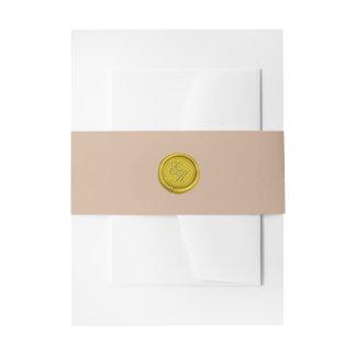 Gold Script Monogram Wax Seal Beige Wedding Invitation Belly Band
