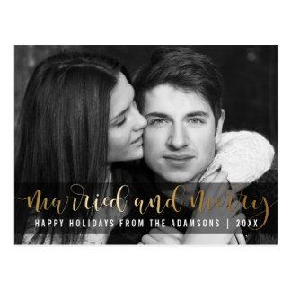 Gold Script Newlywed Holiday Black & White Photo Postcard