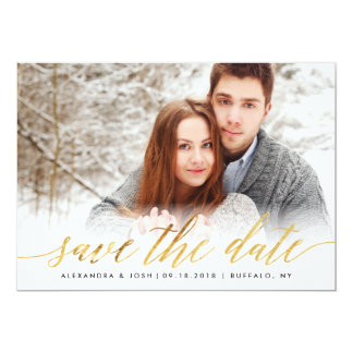 Gold Script Photo Save the Date in Faux Foil Card