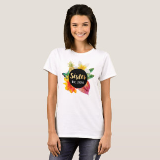 Gold Script Sister Tropical Floral T-Shirt