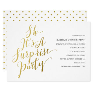 Gold Script Surprise Party Invitation