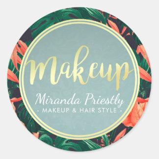 Gold Script & Tropical Floral Makeup Beauty Salon Classic Round Sticker