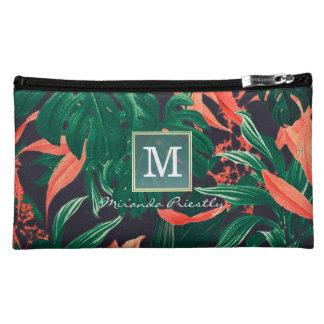 Gold Script & Tropical Floral Makeup Beauty Salon Makeup Bag