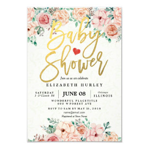 Baby shower invitations announcements zazzle au gold script watercolor floral baby shower invite filmwisefo Choice Image