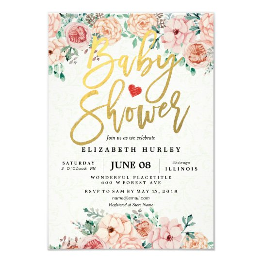 Gold Script & Watercolor Floral Baby Shower Invite ...