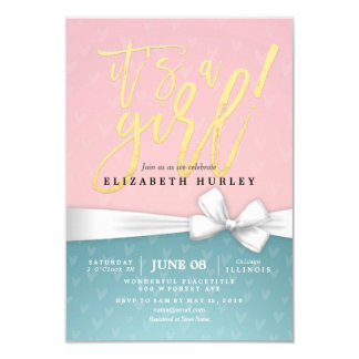 Gold Script White Ribbon Blue Pink Baby Shower Card