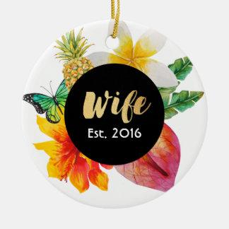 Gold Script Wife Tropical Floral Round Ceramic Decoration