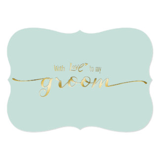 """Gold Script With Love To My Groom Wedding Day Card 5"""" X 7"""" Invitation Card"""