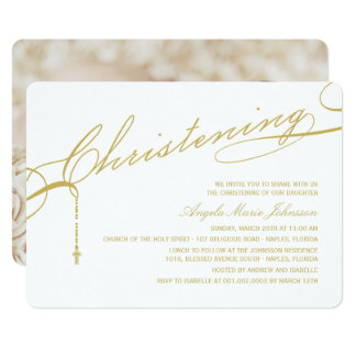 Gold Scripted Christening Cross Photo Religious Card