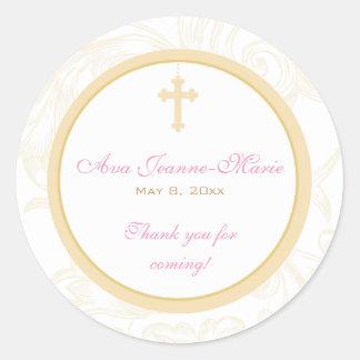 Gold Scroll Cross Address Label/Favor Sticker