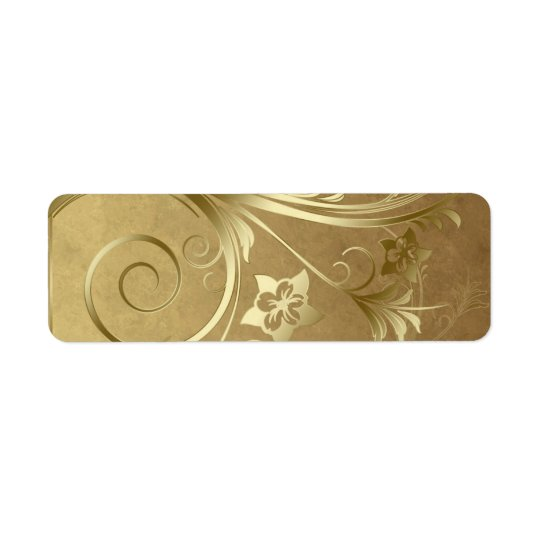 Gold scrollwork labels