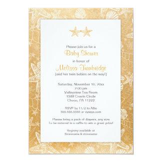 Gold Sea Shells Starfish neutral Twins baby shower Card