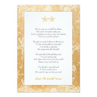 Gold Sea Shells Starfish neutral Twins thank you Card